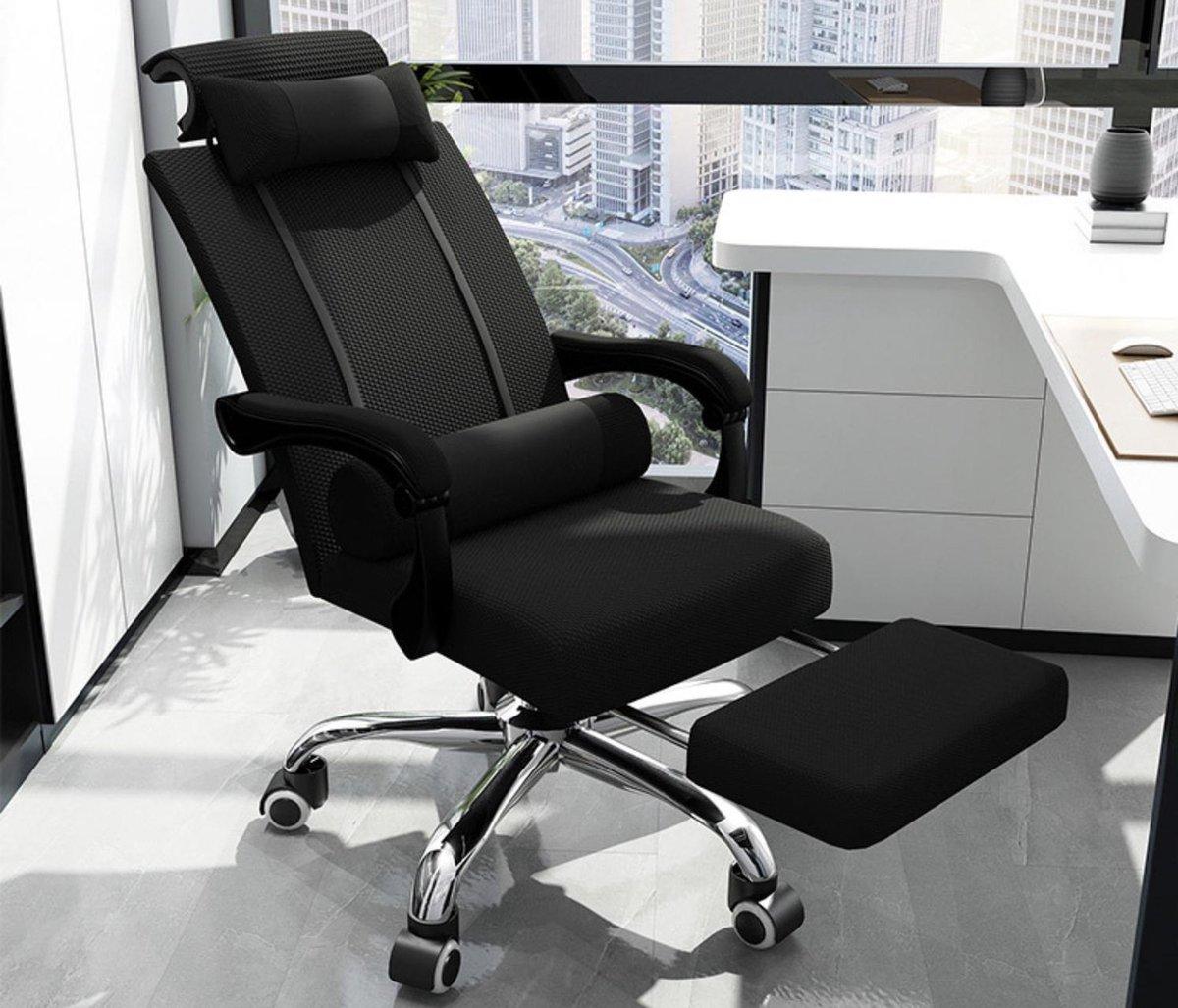 Ergonomische Bureaustoel - Bureaustoelen voor volwassenen - Hoofdsteun - Uitschuifbaar voetsteun - O