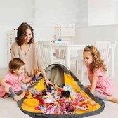Reayou - Opbergkleed - Speelgoed Organizer - Speelmat voor Kinderen - Lego opbergzak - 2-in-1 speelkleed en opbergzak - Opbergmand - Grijs + Blauw