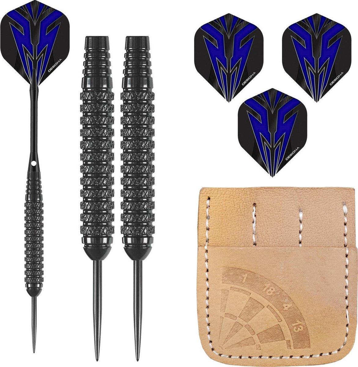 Dragon Darts Serpent Blue - dartpijlen - dart shafts - dart flights - dartpijlen 24 gram - 100% lederen etui