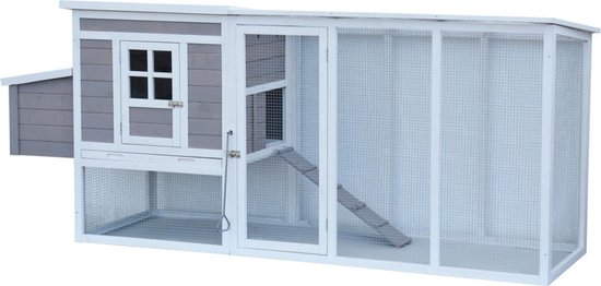 Homestyle Kippenhok Landal - Kippenhok - 215x104x76 cm Grijs Wit