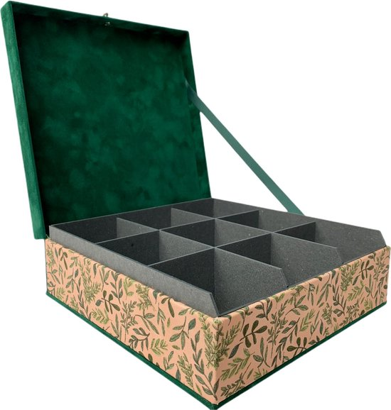 The Box For Tea Groene Theedoos met Thee Cadeau - 9 vaks - Groen - Roze