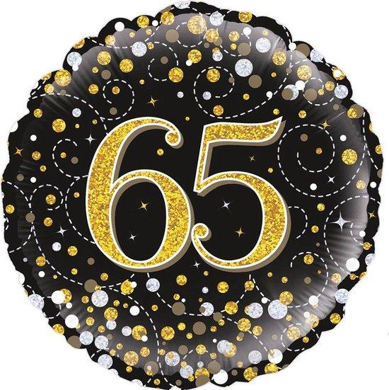 Glitter helium folie-ballon 65  jaar zwart goud.