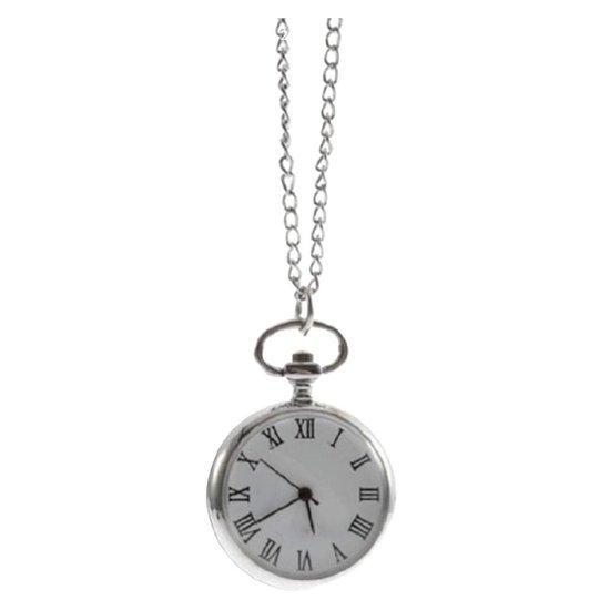Ketting- horloge-31 mm-zilverkleur-romeinse cijfers-Charme Bijoux