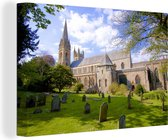 Kathedraal van Cardiff in Europa tijdens de middag Canvas 60x40 cm - Foto print op Canvas schilderij (Wanddecoratie woonkamer / slaapkamer) / Europese steden Canvas Schilderijen