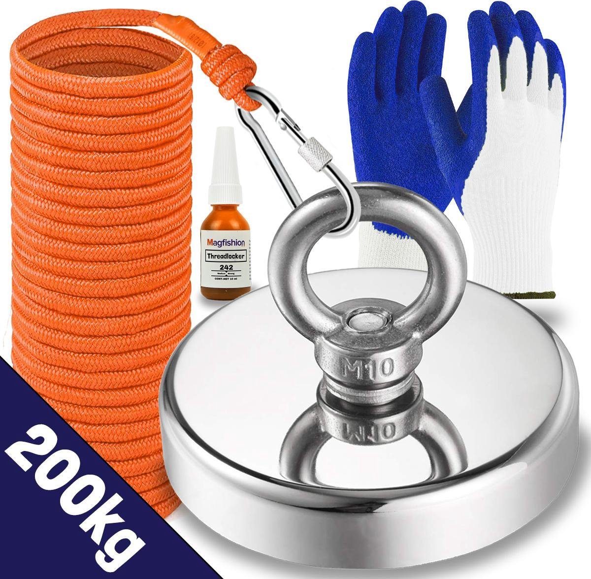 Magfishion® Vismagneet Set - 200 KG - Magneetvissen - 20m Touw + Karabijnhaak met Schroefsluiting -