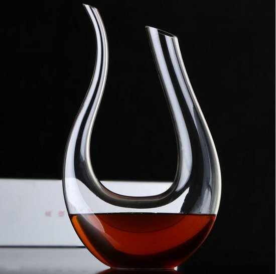 Decanteer karaf - Decanteerkaraf - Luxe Karaf 1,5 L - Wijn Karaf - Wijn Accessoires - U-Vorm - Kristal glas - Vaderdag