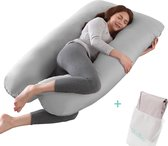 Litollo® Zwangerschapskussen XXL - Voedingskussen - Lichaamskussen - Body pillow - 280cm - Grijs - Met gratis extra afneembare hoes (t.w.v. €29,95)