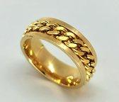 Stoer RVS goudkleur ringen met los schakel ketting in midden in die je mee kan draaien(ook wel stress ring genoemd). maat 18, deze ring is zowel geschikt voor dame of heer ook mooi als duim ring.