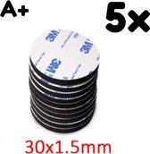 Dubbelzijdig Sticker - 5 Stuks - Zwart Rond 3M - Extra Sterk - Plakkers - Ophangen Poster en Foto - Knutselen - 30 x 1.5 mm - Plakkertjes - Klevers - Montage - DIY