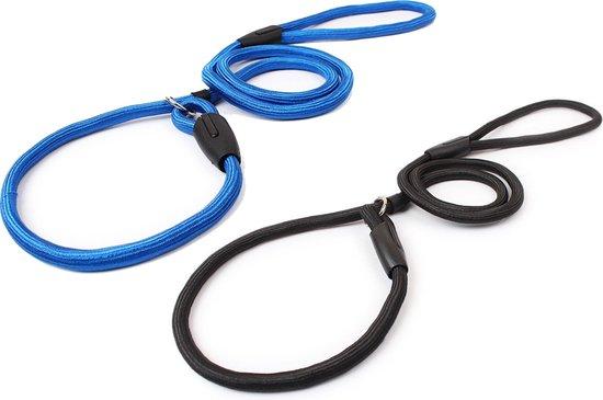Combi Deal – Hondenriemen Zwart & Blauw – 140 cm x 1,2 cm - Sliplijn - Zwart & Blauw – Nylon - Thousandtravelmiles