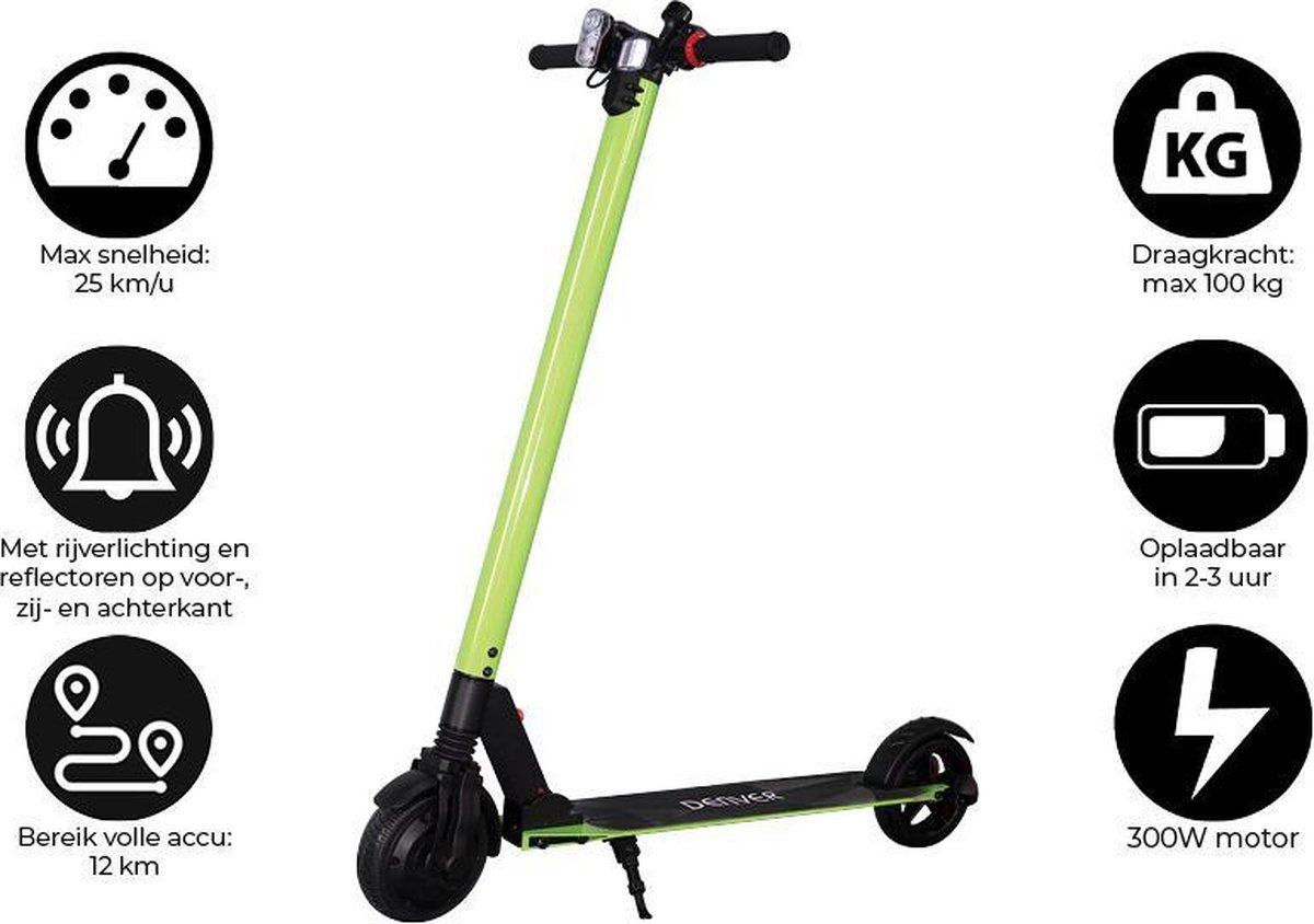 """Denver SEL-65220F - Elektrische step - 6.5"""" Banden - 25 km/u - E-Step met aluminium frame - Inklapbaar - Met LED verlichting voor & achter - E-Scooter - Groen"""
