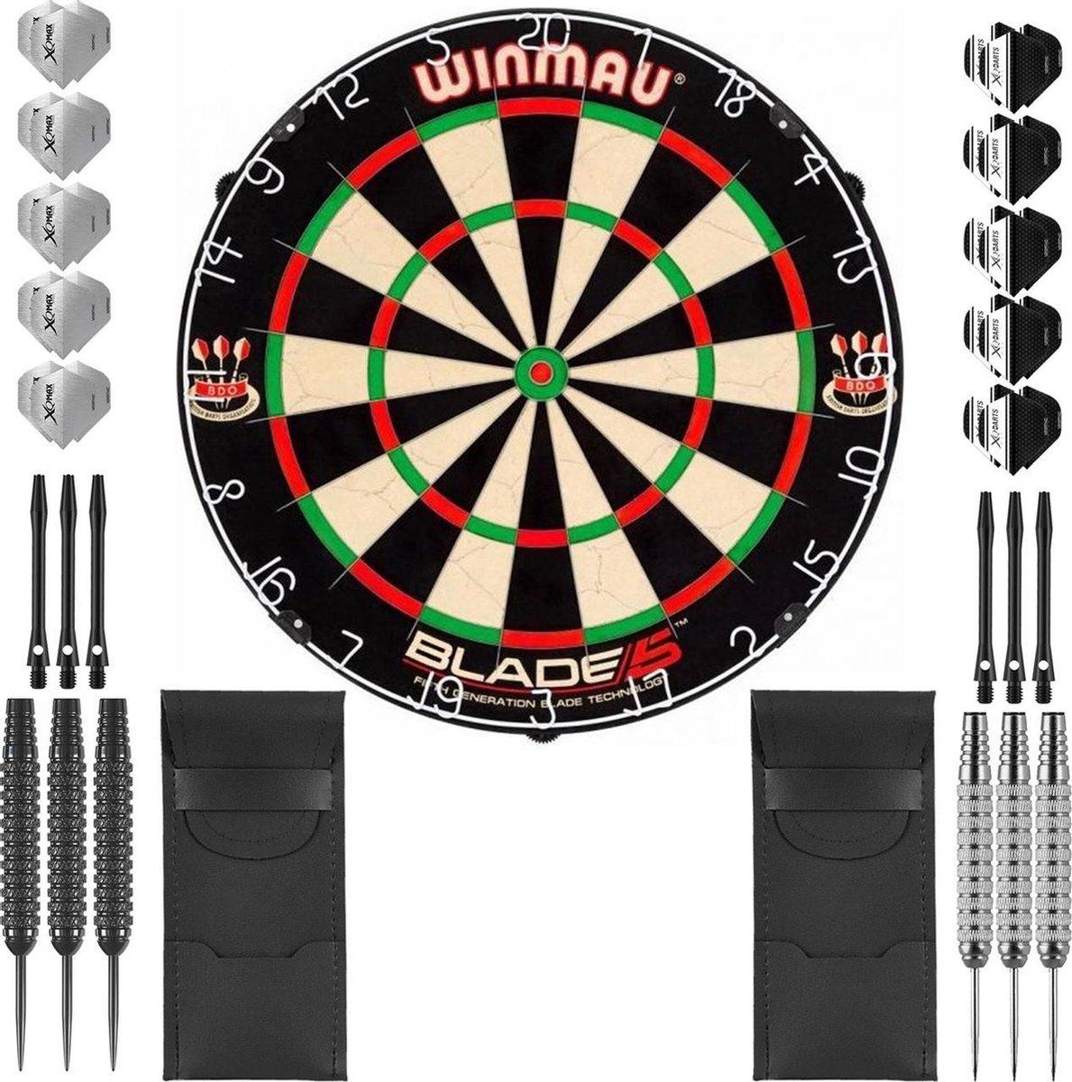 Dragon Darts complete Mega Ray dartset - Winmau blade 5 - dartbord - dart shafts - dart flights - dartpijlen 24 gram - 100% brass - 2 sets - dartpijlen