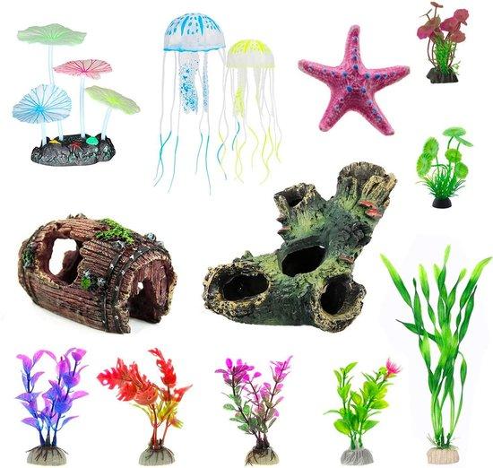 Allerion Aquarium Decoratie Set – 13-delig – Ornamenten - Voor Zoet en Zout Water – Glow in the Dark