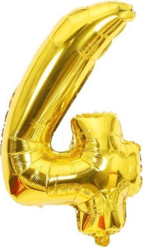 Folie Cijfer Ballon Groot | Goud | Cijfer 4 | ± 82 cm. | Met deze folie ballon wordt je feestje compleet!
