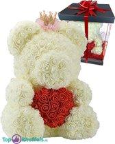 Rozen beer met Kroon Wit met Rood Hart 40 cm + Luxe Giftbox met mooie Strik | Rozenbeer liefdes Teddybeer XXL voor jou geliefde met gift box! | Rose Bear Knuffelbeer |  Groot I Love You knuffel beertje met hartje | Cadeau Rozen teddy