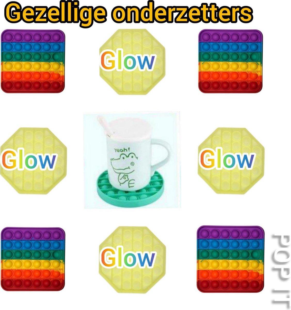 Fidget toys | Pop it pakket set van 8 stuks | 4 Glow in the dark + 4 Rainbow regenboog vierkant | Meisjes jongens volwassenen _ Anti stress 2021 _ Verjaardag cadeautip _ Leuk voor zwembad
