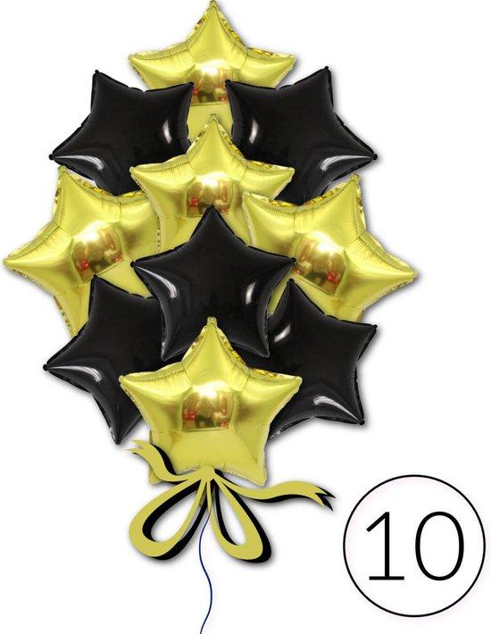 10 Folie Ballonnen Ster Zwart Goud voor Verjaardag, Feestversiering, Themafeest, Glitter & Glamour Party   Geschikt voor Helium