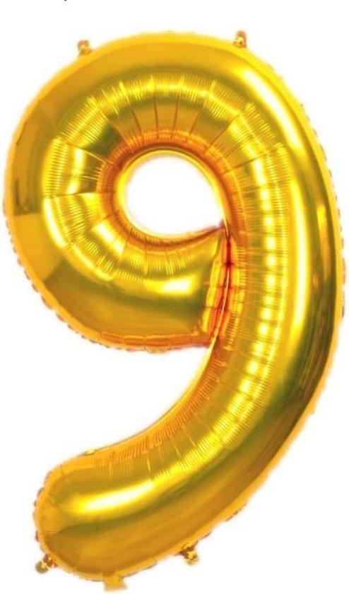 Folie Cijfer Ballon Groot   Goud   cijfer 9   ± 82 cm.   Met deze folie ballon wordt je feestje compleet!