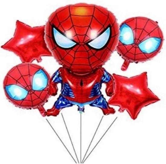 Partygoodz - 5 Stuks Spiderman Ballonnen Set - Marvel - Superheld - Verjaardag - Kinderfeestje - Versiering - Decoratie