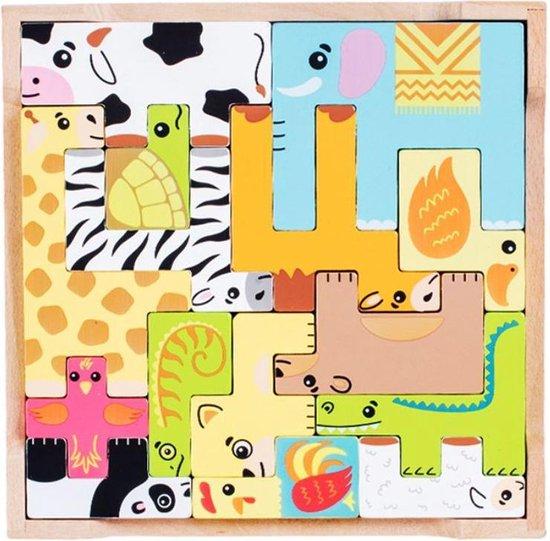 4yourkids - Houten speelgoed dieren puzzel - 15 stuks - Blok puzzel - Jongens en meisjes - Kinderen - 3 jaar - Gift - Cadeau - Sinterklaas - Kerst