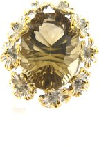 Hetty'S-Extravagante zilveren ring-Met grote Citrien-En bloemen-Maat 17