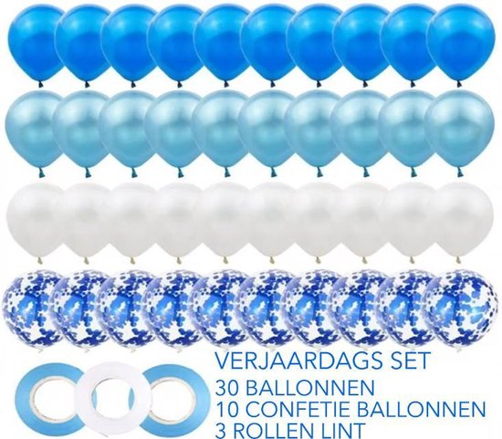 Set van 40 ballonnen en 3 linten. 3 verschillende tinten blauwe ballonnen en 1 glinsterende. De linten zijn ook in 2 verschillende kleuren. Geweldig voor verjaardagsfeestjes, bruiloften of andere feesten.