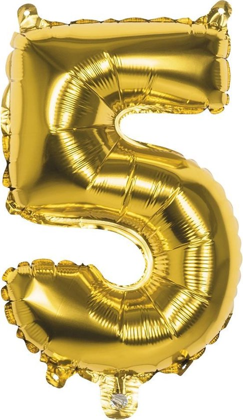 Boland Folieballon Cijfer 5 Latex Helium Goud 86 Cm