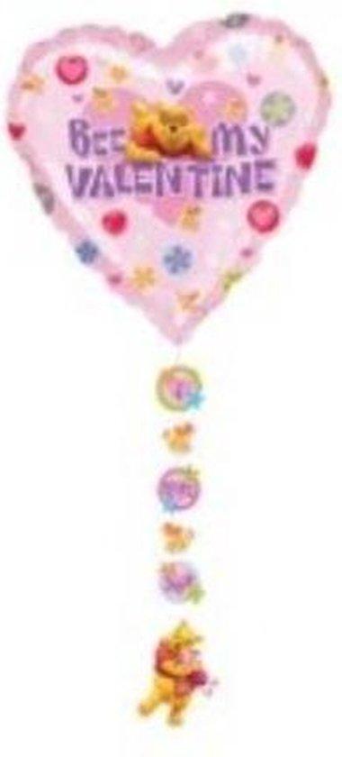 Folieballon - Winnie de Poeh - Bee my valentine - Met onderhangers - Zonder vulling