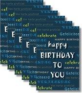 6x dubbele wenskaart met envelop -  Gefeliciteerd  - Verjaardag - 11,5 x 17 cm
