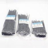 WiseGoods - Kabelbinders - Tyraps - Tiewraps - Tie Ribs - Bundelbanden - 3 Verschillende Maten - 300 stuks - Zwart