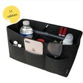 Bag In Bag - Tas Organizer - Handtas Vrouwen - 11 Vakken Maat M - Zwart Vilt - Hoogwaardige kwaliteit