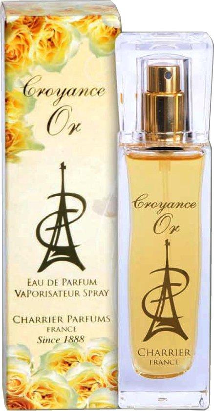 Croyance Or, een originele Franse bloemige/fruitige geur (produced in Grasse van Charrier) met Magnolia, Rozen en Amber.