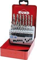 RUKO Spiraalboorset DIN 338 type N, HSS-G in stalen koffer