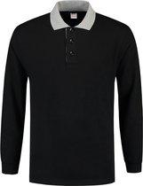 Tricorp Polo Sweater Contrast  301006 Zwart / Grijs - Maat XL