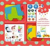 Djeco - Knutselset Creeëren met stickers - Auto's - 3-6j