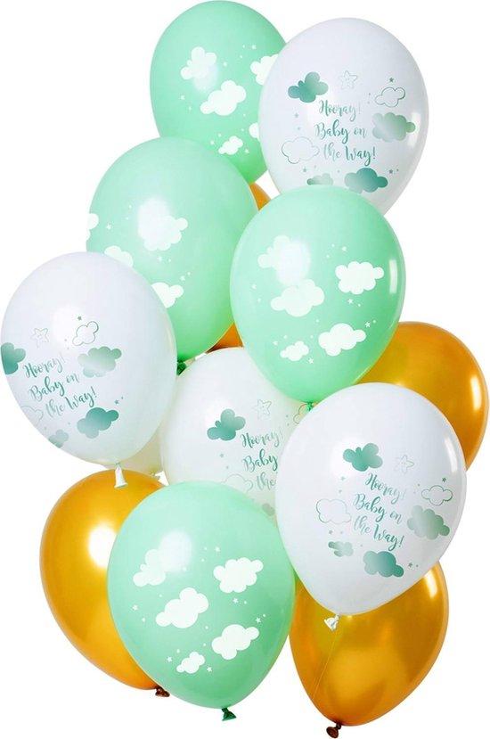 Set Van 12 Ballonnen Baby On The Way Groen Goud - 30cm