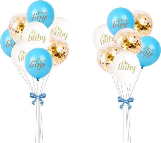 Geboorte Versiering ballonnen set jongen Babyshower decoratie blauw it's a boy wit oh baby confetti Ballon Baby Shower