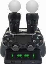 4-in-1 Dualshock Controller - Dock Charger - Oplaadstation PS Move & PS4 PRO VR - USB Dubbel Docking - Oplaadkabel Playstation 4 -