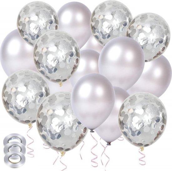 Partizzle® 40x Zilver Feest Verjaardag Versiering Helium Ballonnen - Confetti Decoratie - Latex