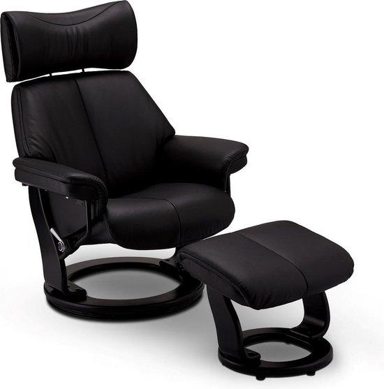Toms relaxstoel fauteuil incl. voetenbank en verstelbare rugleuning, draaivoet, zwart PU kunstleer.