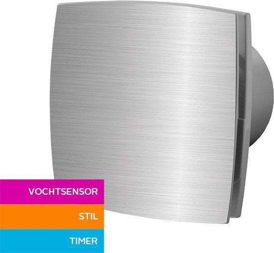 Badkamerventilator Ø 100 mm Silent met vochtsensor en timer aluminium