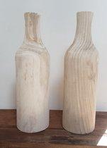 houten vaas voor kunstbloemen