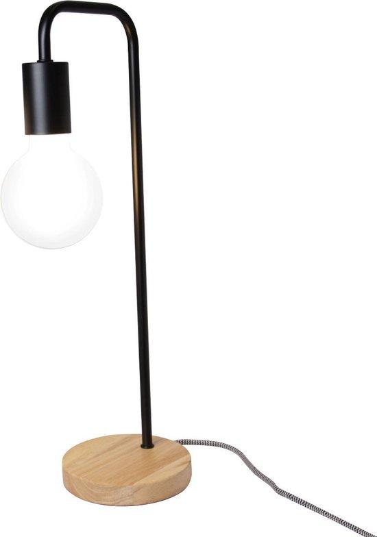 Tafellamp Buis Zwart met Houten voet met G95 Lichtbron