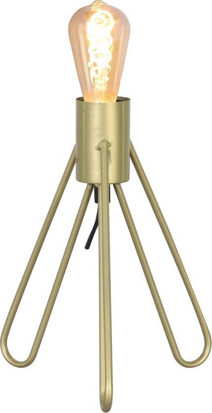 Tafellamp driepoot Oud Messing met schakelaar en LED lamp Dimbaar