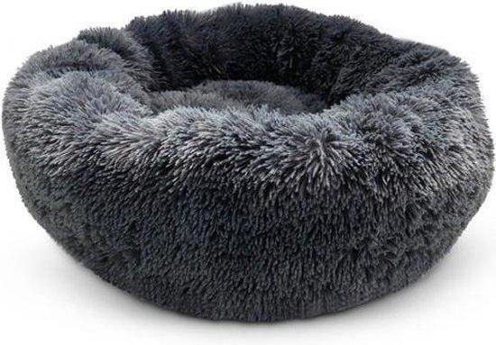 Snoozle Donut Hondenmand - Superzacht en Luxe - Wasbaar - Fluffy - Hondenkussen - 80cm - Grijs