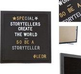 LEDR® Letterbord 30 x 30 Volledig Zwart – Inclusief 354 witte én 354 gouden & zilveren letters, symbolen & emoticons – Inclusief verstelbaar standaard - Eiken houten frame