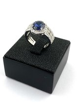 18 karaat gouden ring met donkerblauwe saffier en briljant - Parome