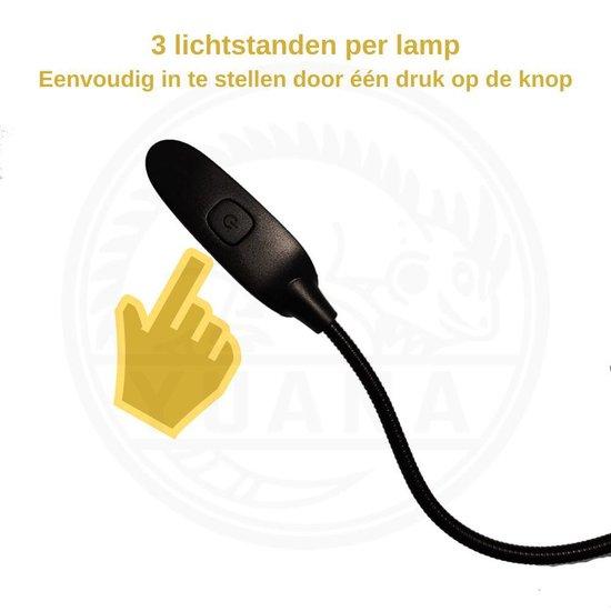 Leeslampje voor Boek met Klem - Bureaulamp - Oplaadbaar - Led Lamp Dimbaar met Flexibele Arm - Zwart - Kinderen/Volwassenen - Bed/Kinderkamer/Slaapkamer/Studeerkamer