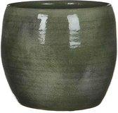 Mica Decorations lester ronde pot groen maat in cm: 18 x 20 - GROEN