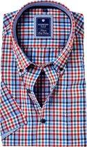 Redmond Regular Fit overhemd korte mouw - rood - groen - blauw geruit - Strijkvriendelijk - Boordmaat: 37/38